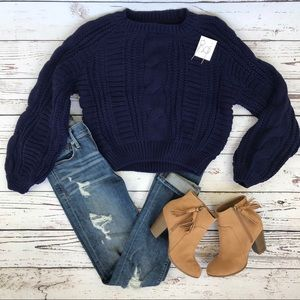 Blue Chunky Cable Knit Long Sleeve Sweater A1